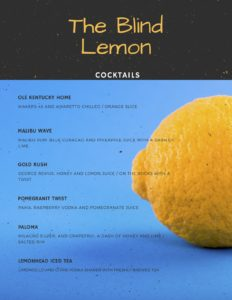 Blind Lemon Cocktail Menu