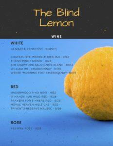 Blind Lemon Wine List