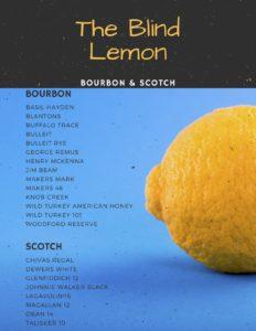 Blind Lemon Bourbon and Scotch List